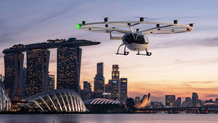 Volocopter to launch air taxi services in Singapore in next three years.