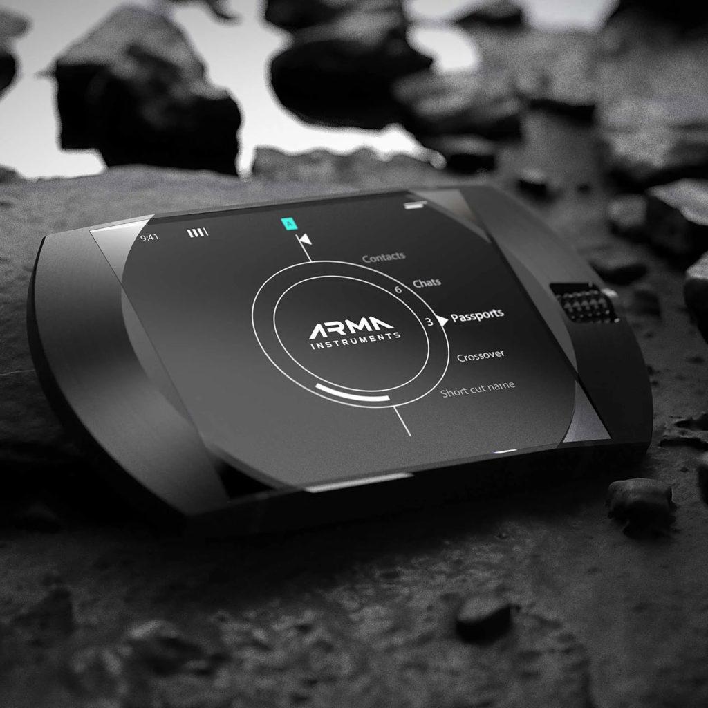 ARMA G1 Secure Communicator, a futuristic Top Secret security level mobile device.
