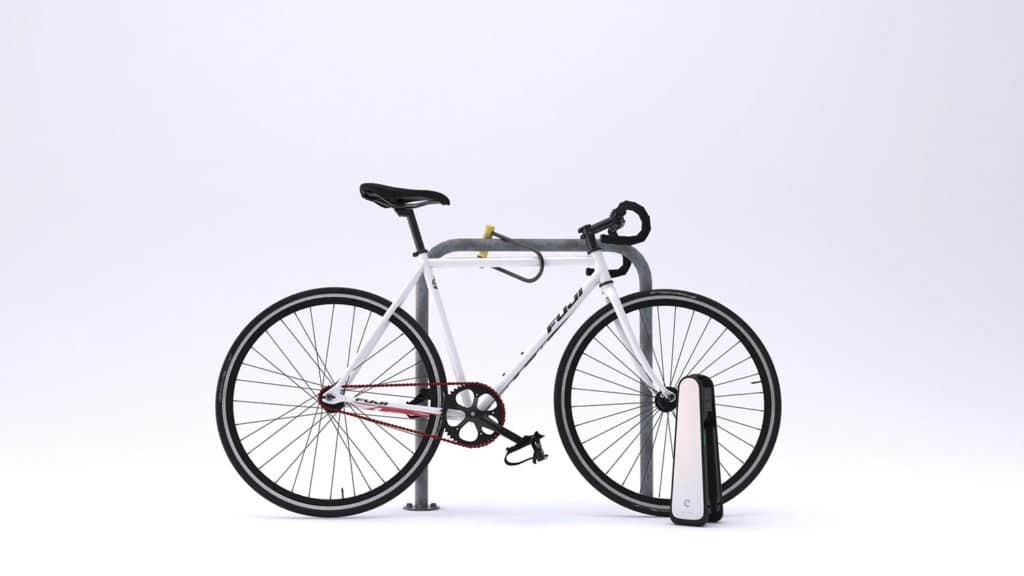 It attaches to the front wheel of a bike in seconds.