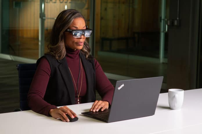Lenovo ThinkReality A3 smartglasses enhance productivity for the office professional.