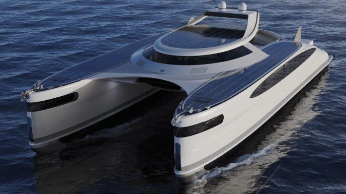 Pagurus, a solar-powered amphibious catamaran capable of moving also on land.