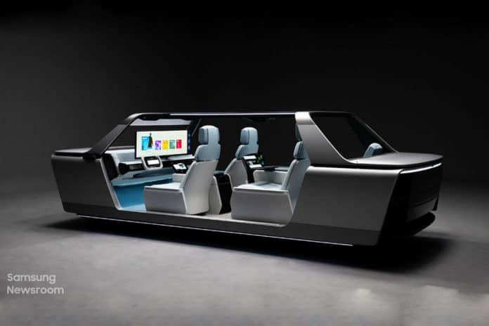 Samsung's 49-inch Digital Cockpit turns cars into a remote office, online concerts.