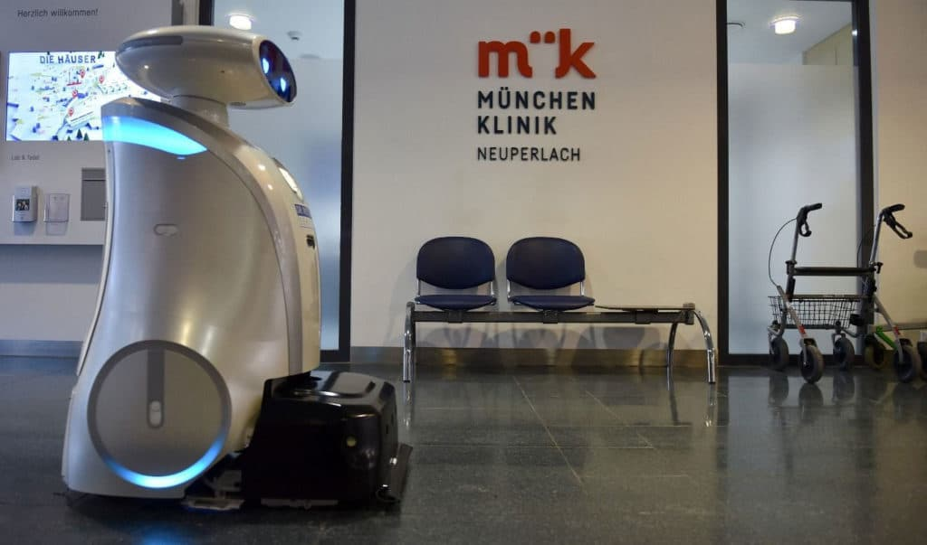 Franzi, a talkative robot that cleans, and cheers up patients at a German hospital.