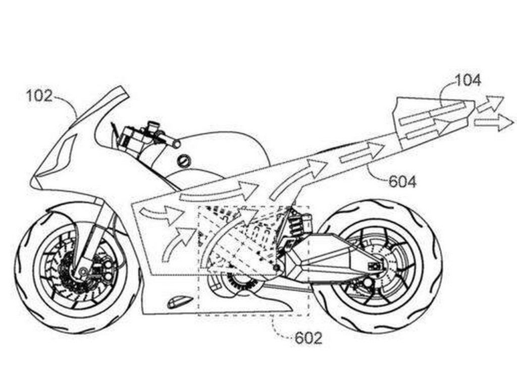 Honda patents an electric motorcycle with a built-in drone.