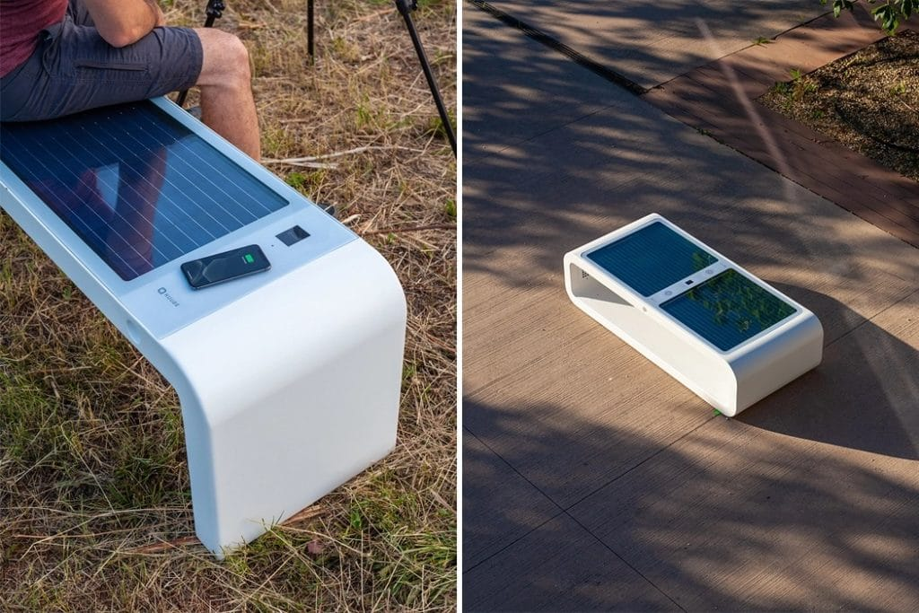 Solar-powered Smartbenche provides charging ports and WiFi hotspot.
