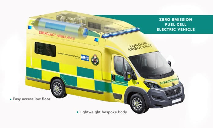 ULEMCo presents hydrogen fuel cell ambulance for use on London's streets.