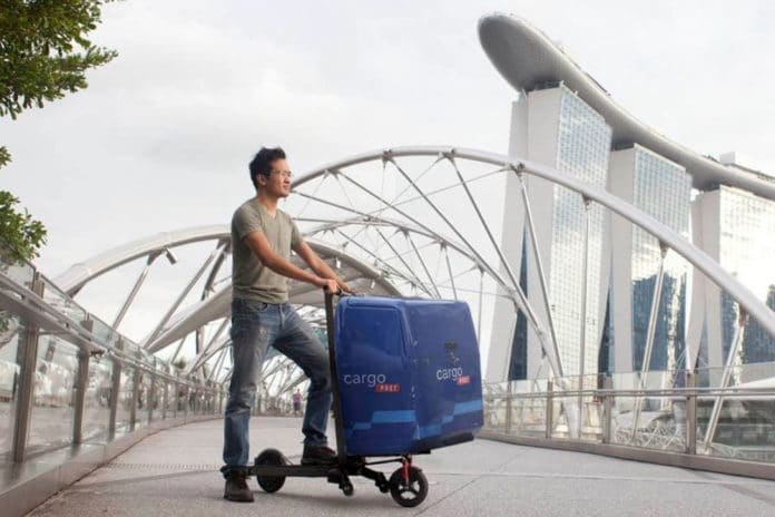 Mimo C1 electric scooter transforms into a shopping cart in 3 seconds.