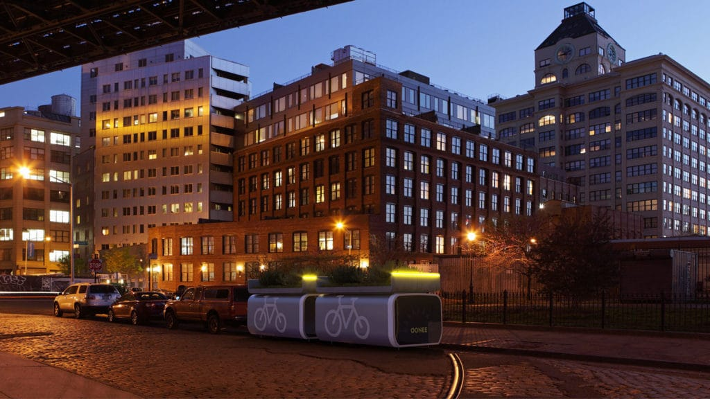 Oonee Mini pod promises 10 bike parking spaces in place of one car.