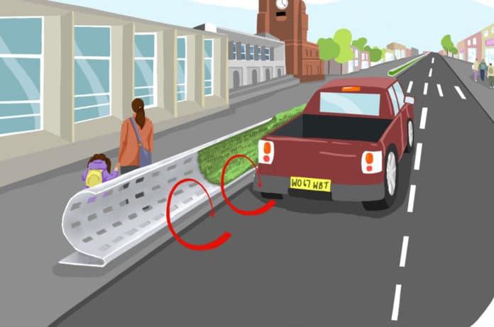 Curved roadside barrier design mitigates air pollution
