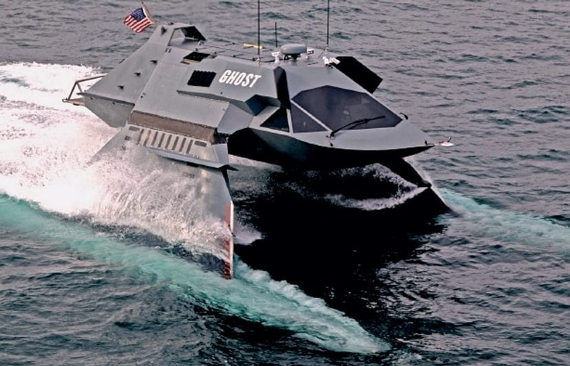 The GHOST stealth boat can sail through waves at high speeds.