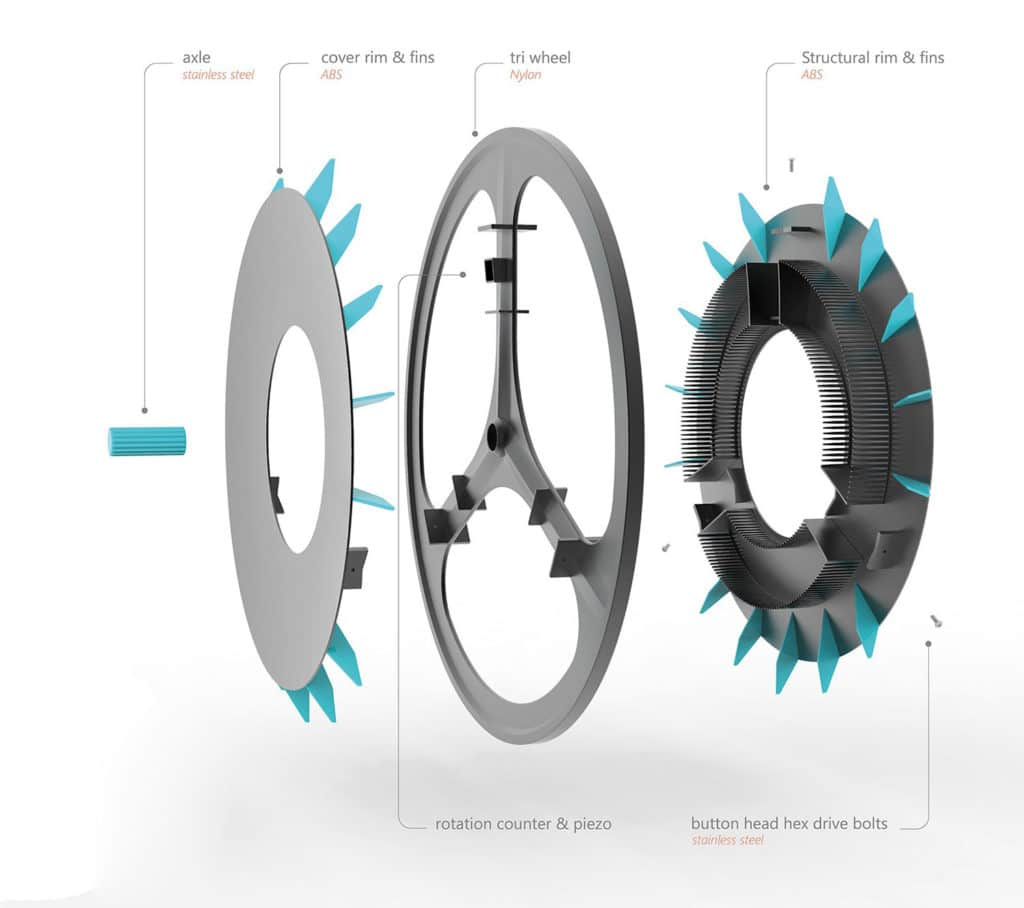 GoRolloe, a bicycle wheel that filters outdoor air pollution.