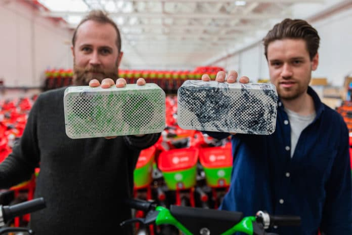 Gomi upcycles old Lime e-bike batteries into portable Bluetooth speakers.