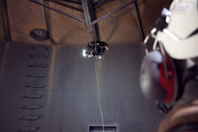 Scout inspection drone designed for enclosed and poorly lit spaces.