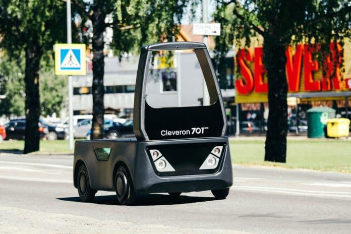 Cleveron unveils new unmanned semi-autonomous last mile delivery vehicle.