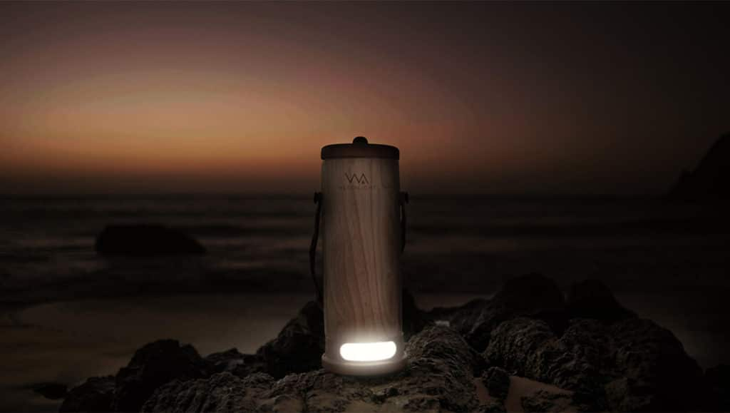 E-Dina's WaterLight converts salt water and urine into electricity.