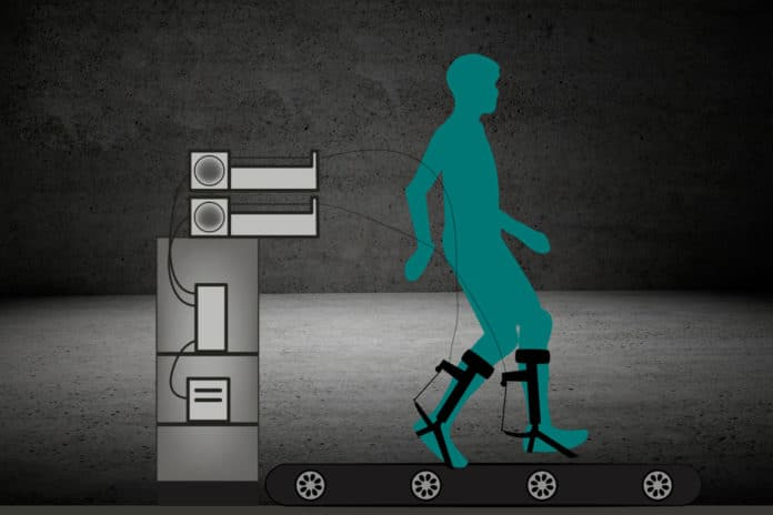 An AI-powered ankle exoskeleton that helps users walk 40% faster.
