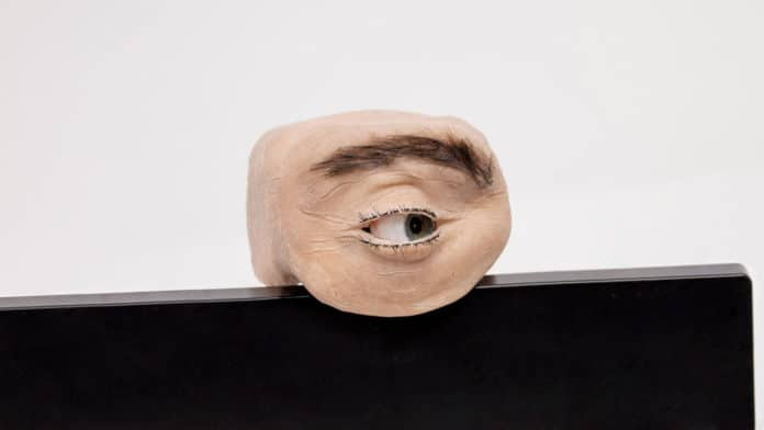 Creepy human-eye-like webcam can see, blink, look around and observe us.