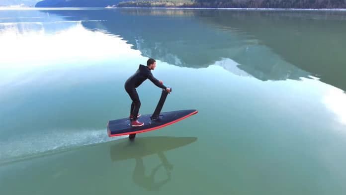 Advanced HydroFlyer e-foil with handlebars offers safer and easier ride.