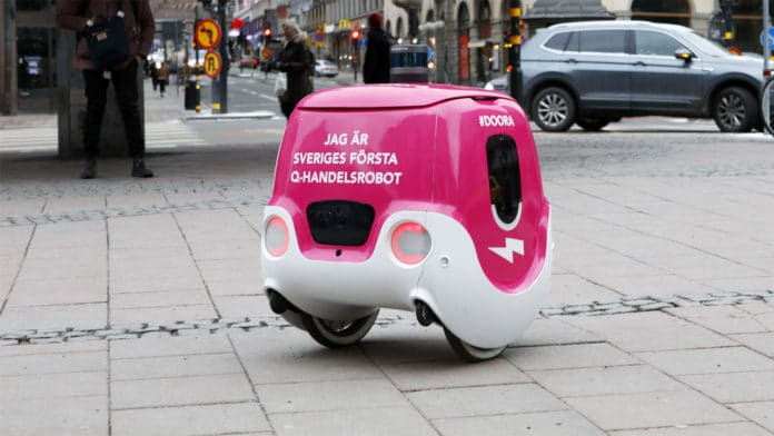 Foodora's 5G delivery droid Doora to begin making food deliveries in Stockholm. Credit: Foodora