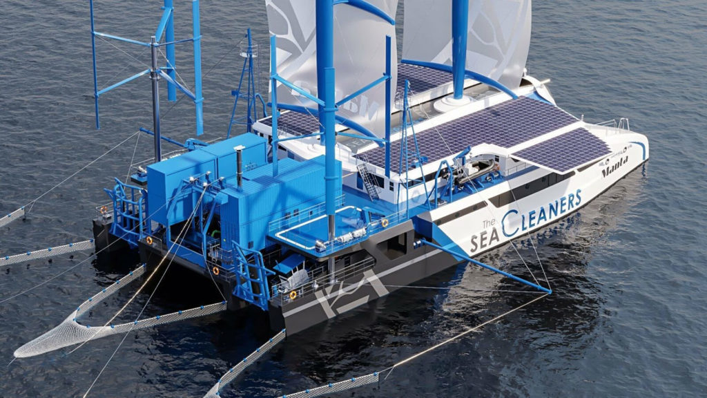 Meet Manta, a sea-cleaning sailboat that feeds on plastic waste.