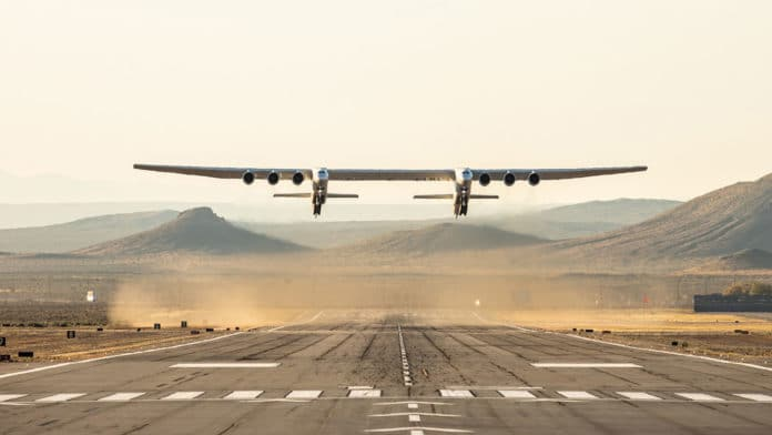 Gigantic Stratolaunch aircraft takes to the skies for the second time