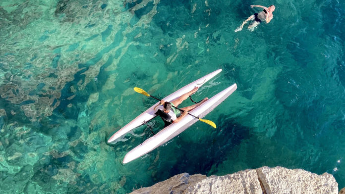 An inflatable Super Kayak fits in a handy bag for transport.