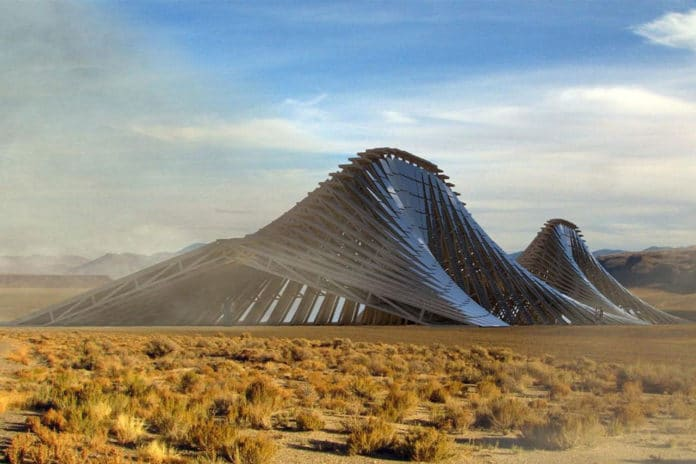 Undulating Solar Mountain produces 300 MWh of renewable energy annually.