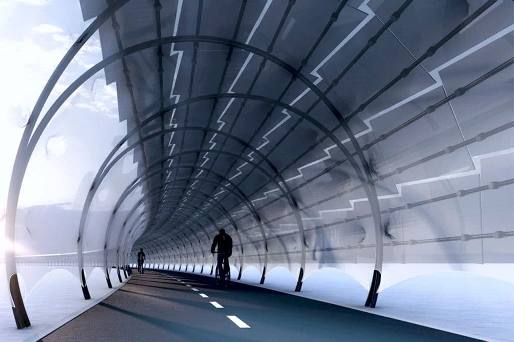Solar Veloroute, a bike pathway that generates energy for charging stations.