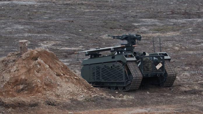 Milrem Robotics' THeMIS UGVs used in a live-fire exercise in Estonia.