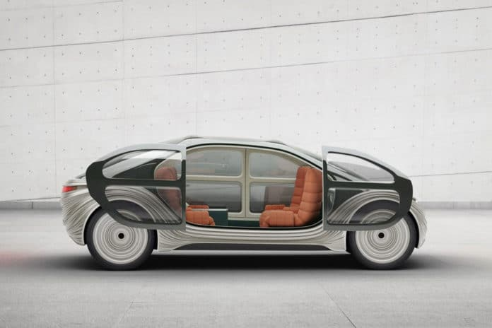 Airo self-driving electric car cleans other car's pollution while driving.