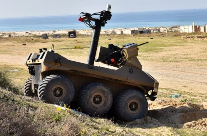 Israel sends military robots armed with machine guns to the Gaza border.