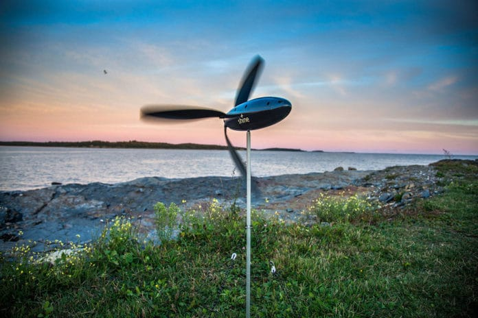 Shine, a portable mini wind turbine that fits in your backpack