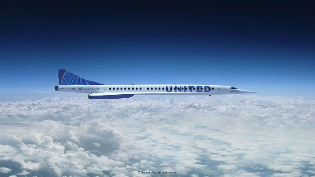 Illustration of United Airlines' future supersonic plane.