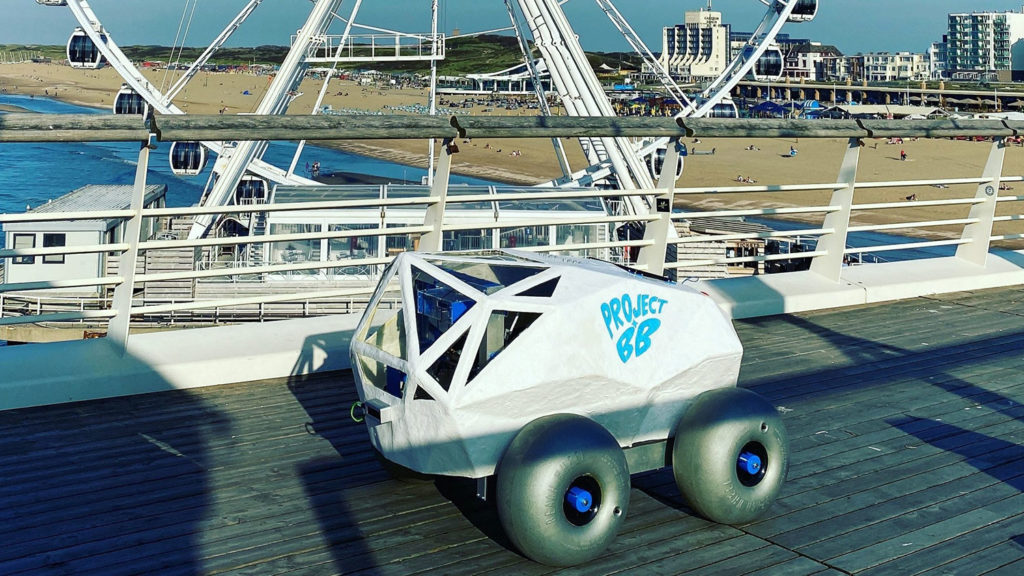 BeachBot robot to clean up cigarette butts on beaches.