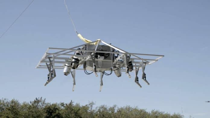 Jet turbine-powered flying motorcycle prototype completes flight testing.
