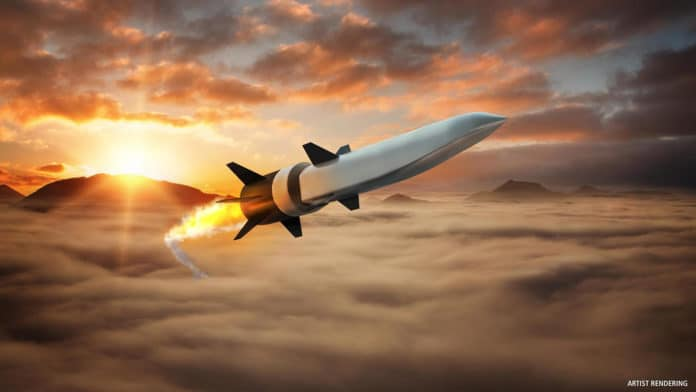 Artist's concept of Hypersonic Air-breathing Weapons Concept (HAWC) missile.