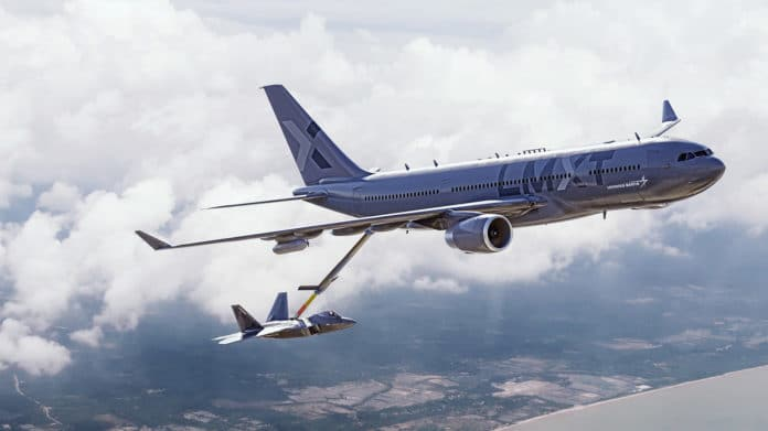 Lockheed Martin unveils LMXT aerial refuelling tanker for the US Air Force.