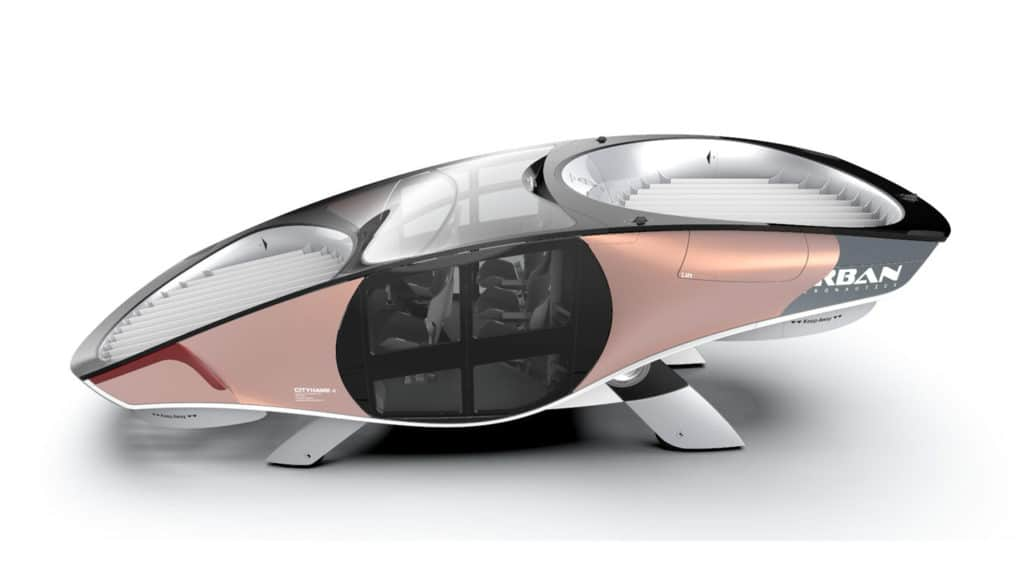 The CityHawk, a car-sized eVTOL designed for multiple trips within a city per day.