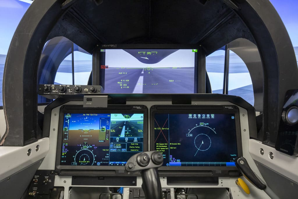 A graphic render of what the inside of the X-59 cockpit will look like with the XVS. The XVS provides a frontal view to compensate for the lack of a forward facing windscreen.
