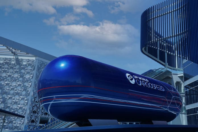 The full-scale cargo pod exterior outside the DP World pavilion at Expo 2020.