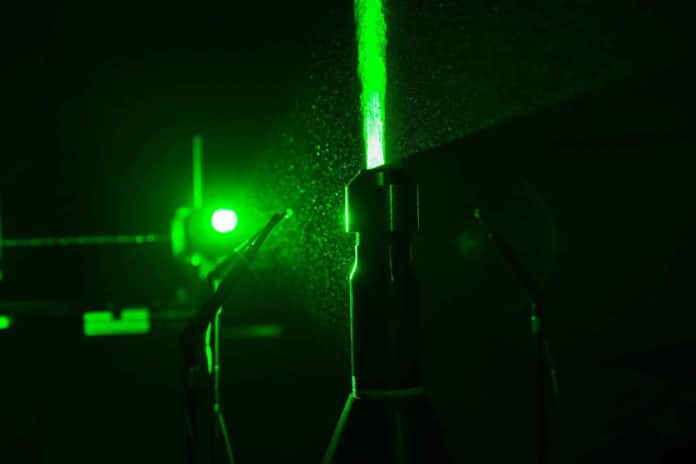 UC aerospace engineering students use lasers and other equipment to observe and measure noise and the exhaust plume from jet engine.