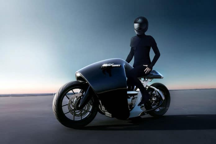 Bandit9 Supermarine motorcycle draws attention with its futuristic design.