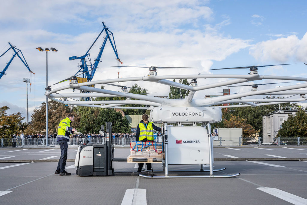 The demonstration teams secured a Euro-pallet sized load to the box under the VoloDrone.