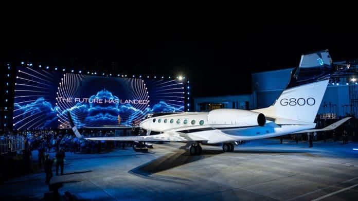 The Gulfstream G800 business jet during presentation.
