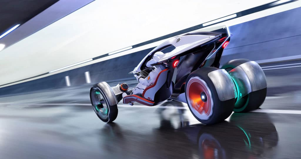 The concept presents an open-air design with two more open front wheels and two rear wheels located in the center.