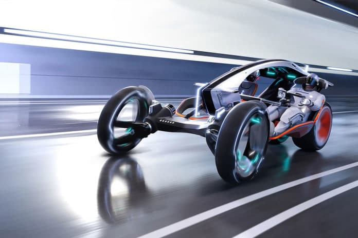 The R RYZR concept is a fusion between a car and a motorbike.