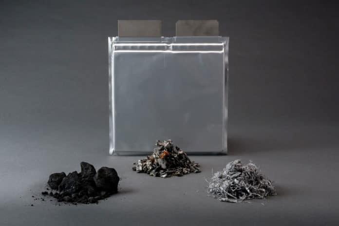 Material in shredded battery.