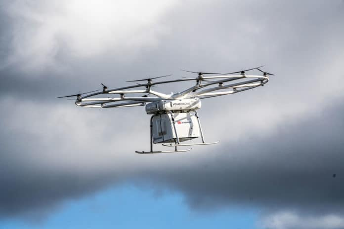 VoloDrone in flight with cargo box.